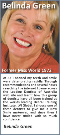At 53 I noticed my teeth and smile were deteriorating rapidly. Through recommendations and several hours searching the internet I came across the Cosmetic Dentists of Generic Area1 web site and learnt how this group of dentists have all been trained at one of Americas Premier Dental Training Institutes, the Las Vegas Institute of advanced dental studies. I chose one of these CDA dentists to give me a New Smile makeover, and since then I have never smiled with so much confidence. My new smile changed my life…. I did it….. Why don't you.?.